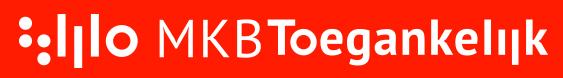 Logo met daarnaast MKB Toegankelijk, wit op een rode achtergrond