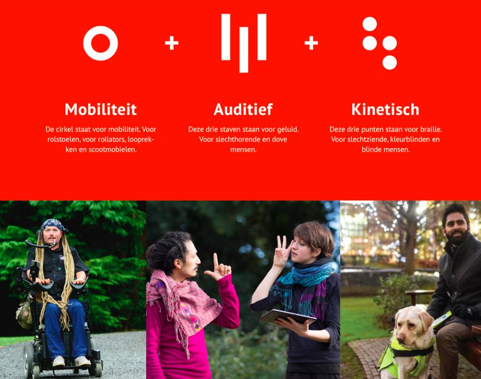 Logo MKB Toegankelijk plus de uitleg plus een foto van iemand in een rolstoel, 2 mensen die in gebarentaal met elkaar praten en iemand met een assistentiehond.