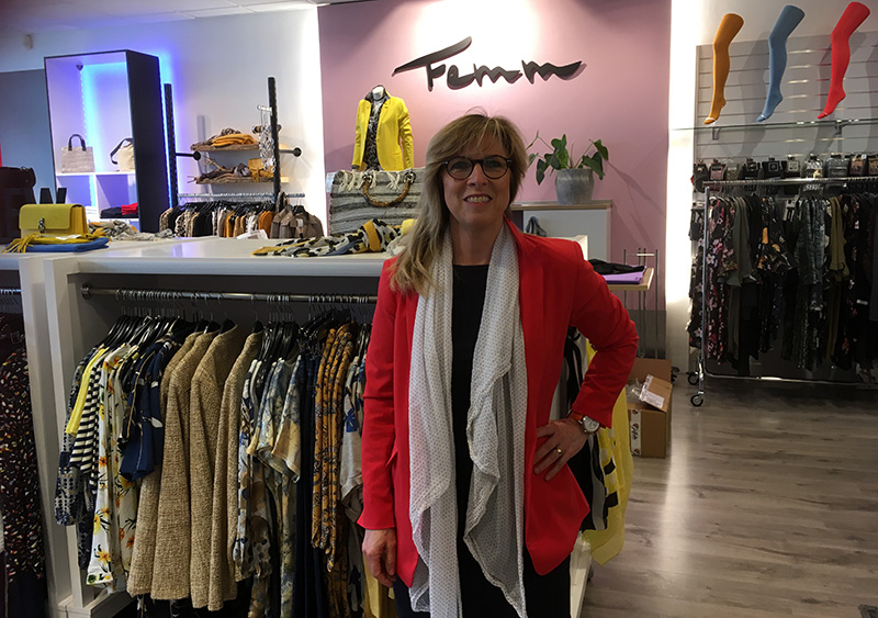 Petra Glandorf in haar winkel Femm in Amersfoort