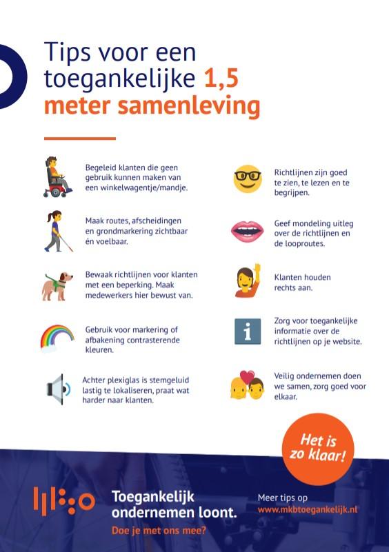 Visual van een flyer met tips over een toegankelijke 1,5 meter samenleving