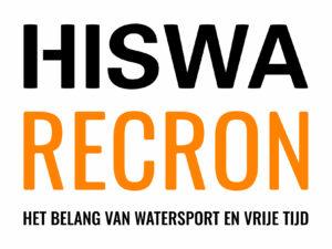 Logo van Hiswa Recron in zwart en oranje tekst