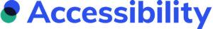 Logo van Accessibility blauwe tekst met twee groen blauwe bolletje